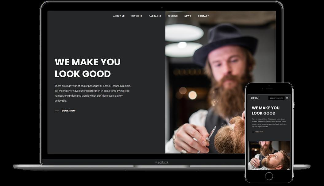 網頁設計 Onepage Website Demo-10-Barber Shop